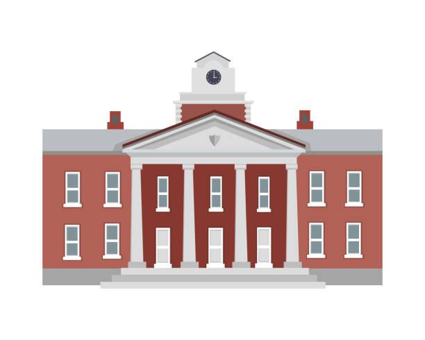ilustrações, clipart, desenhos animados e ícones de ilustração do edifício isolado com colunas - universidade