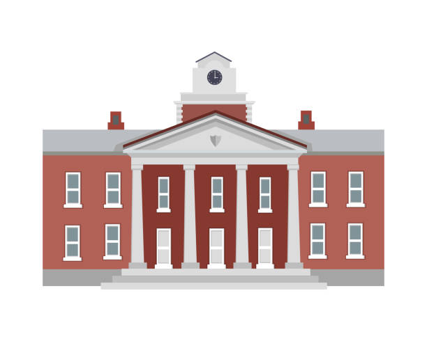 Illustration of Isolated Building with Columns Big brown building with four white columns in simple cartoon style isolated illustration. Two floors. Round clock on top of establishment. Front view. Museum. School. College. Flat design. Vector university stock illustrations
