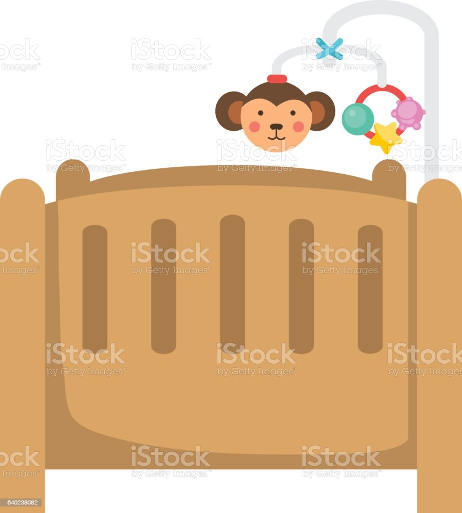 illustration of isolated children bed on white background vector art illustration