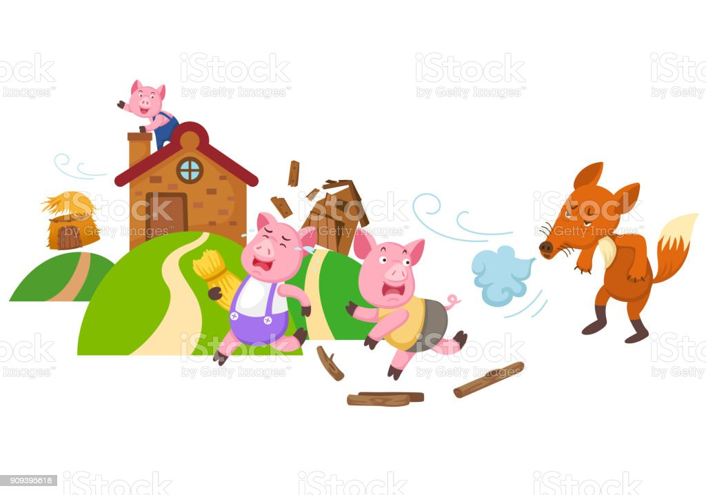 illustration of isolated fairy tale three little pigs vector art illustration