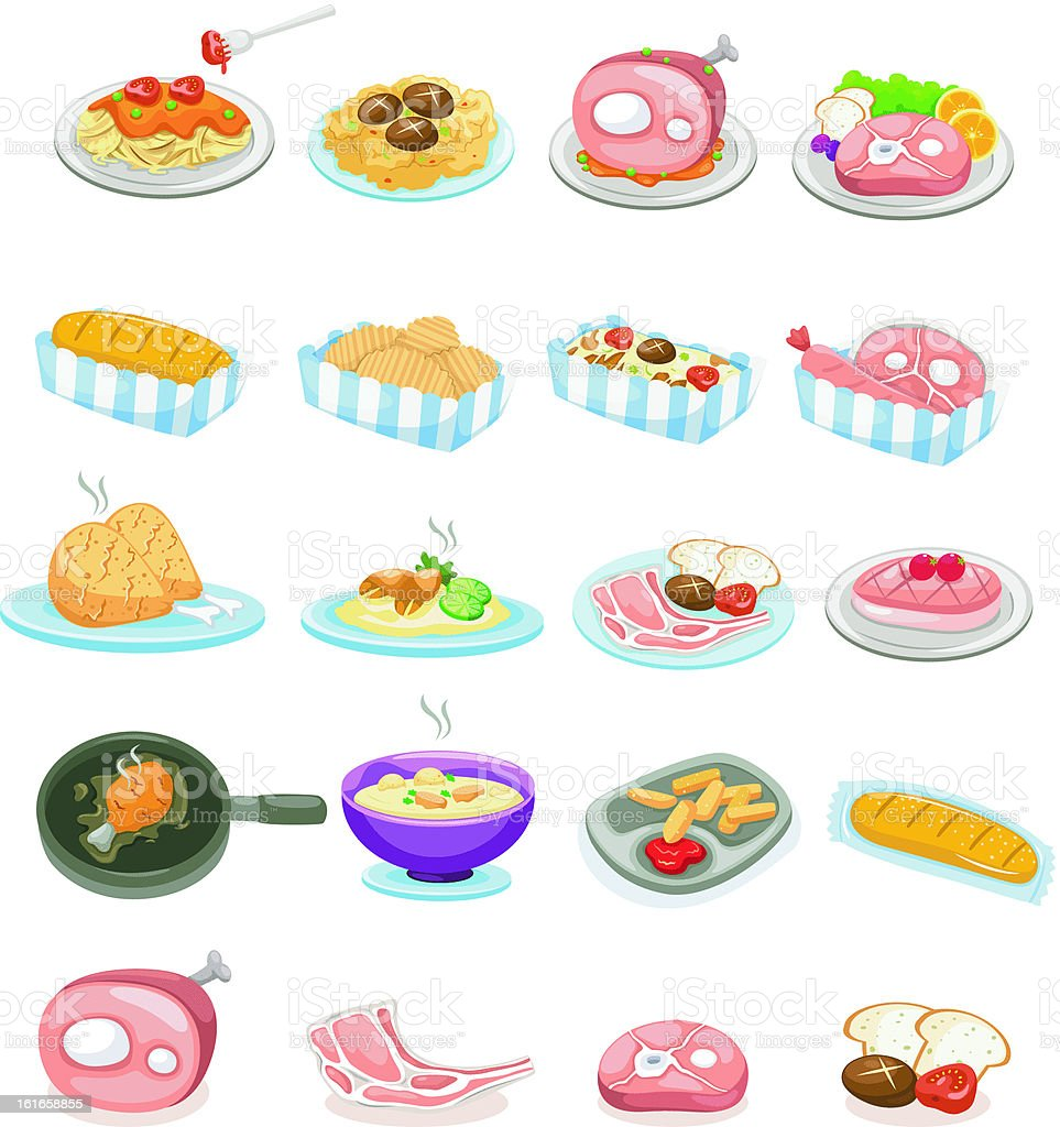 illustration of isolated set food vector art illustration