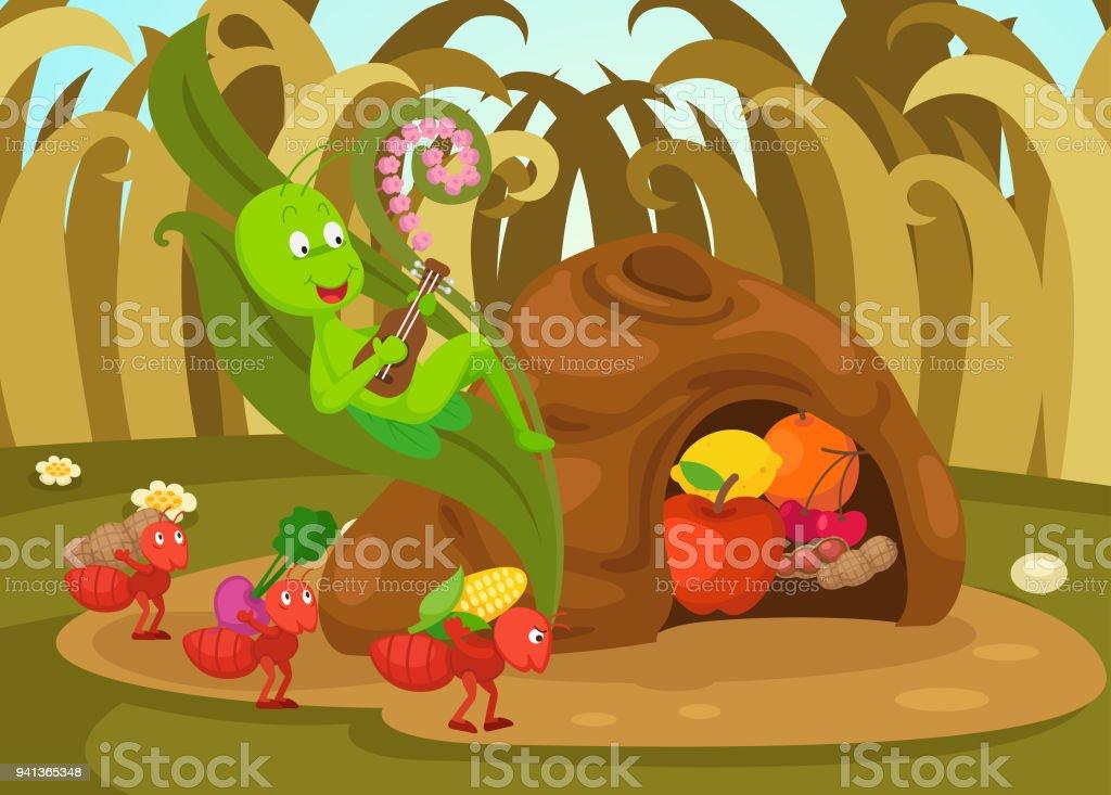 Illustration Conte De Fée illustration disolé la fourmi et le conte de fées de sauterelle