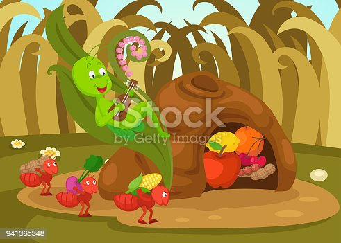 istock illustration of isolated the ant and the grasshopper  fairy tale 941365348