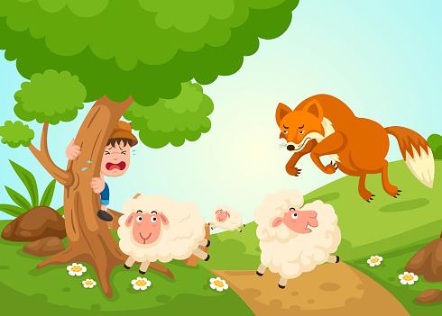 illustration of isolated the shepherd boy fairy tale