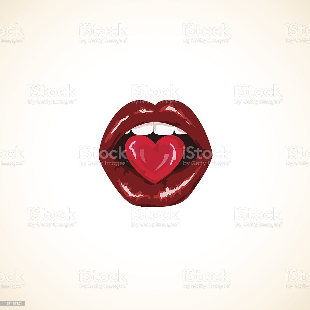 Illustration of isolated woman lips with candy vector art illustration