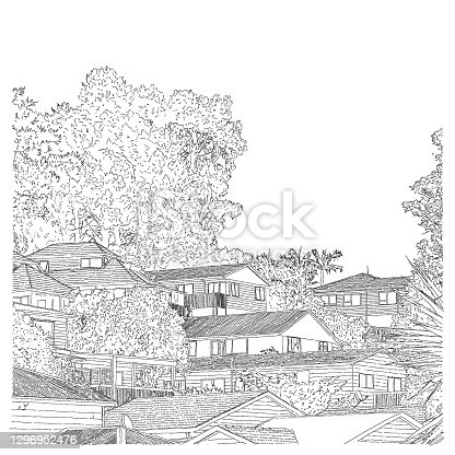 Illustration of houses - view outside the window during isolation