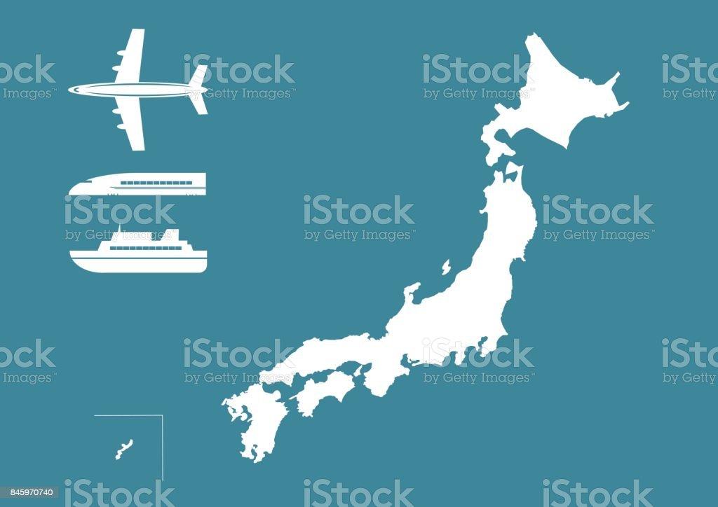 Illustration of Japanese map(aeroplane,train and passenger ship) vector art illustration