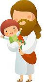 Illustration of Jesus Christ holding a child
