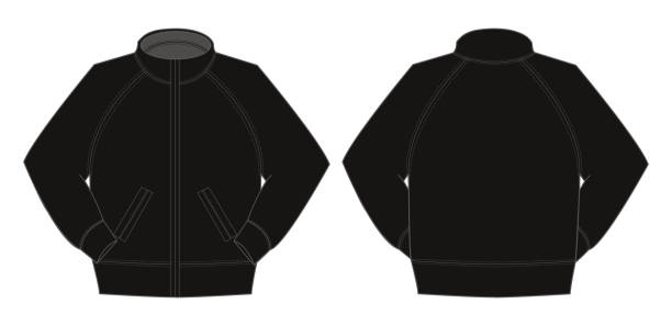 illustrazioni stock, clip art, cartoni animati e icone di tendenza di illustration of jumper / training wear (black) - giacca