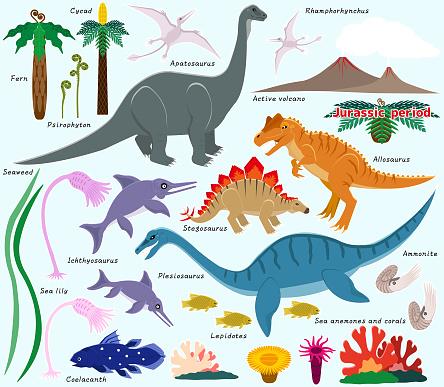 Illustration of Jurassic land, sea and air dinosaurs.