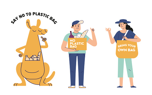 illustration of kangaroo images, young men and women carrying a campaign message to reduce plastic waste by carrying their own bags
