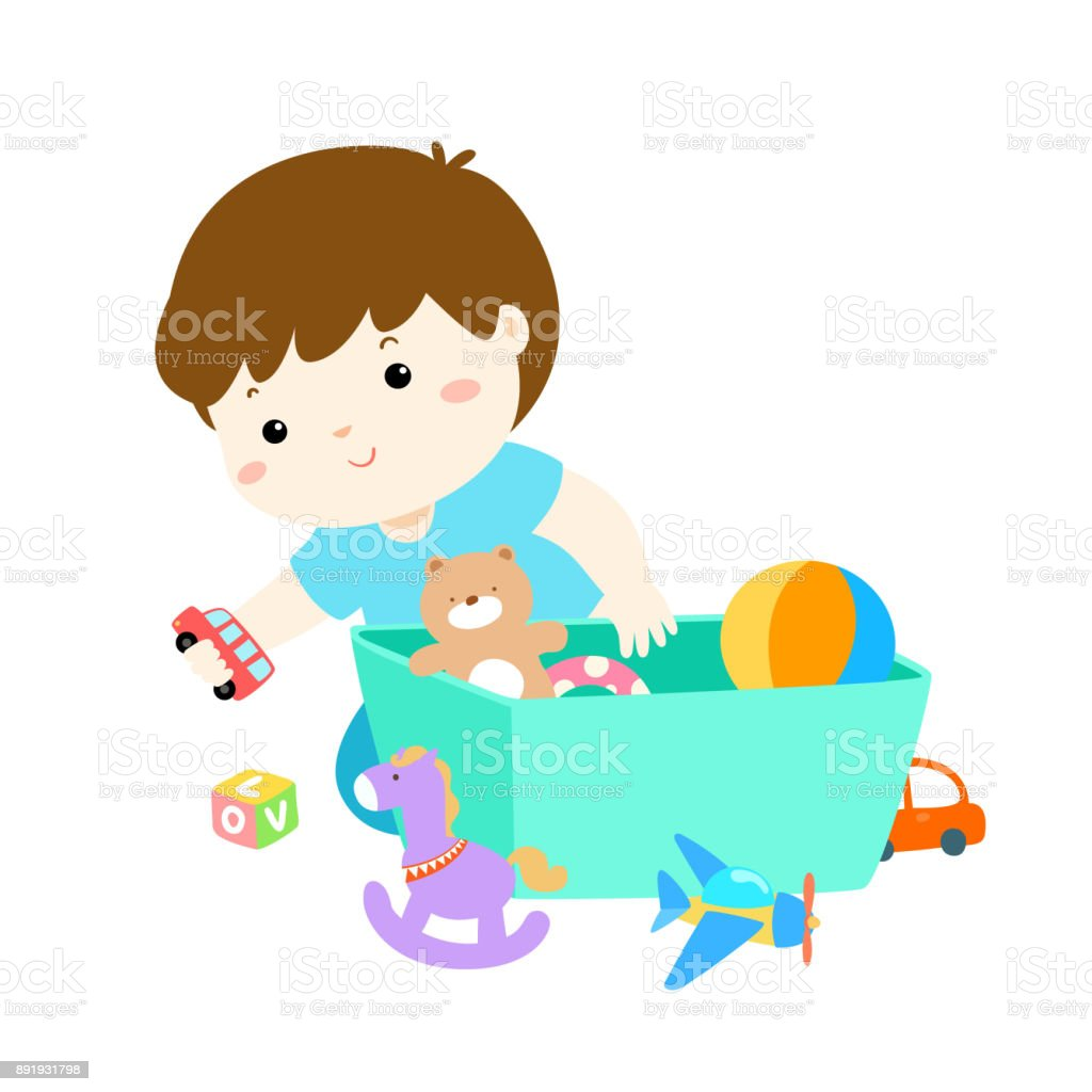 Illustration Von Kind Junge Spielzeug Zu Speichern Stock