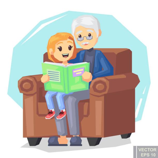 ilustraciones, imágenes clip art, dibujos animados e iconos de stock de ilustración de nieta de niño escuchando la lectura de un cuento de su abuelo - nieta