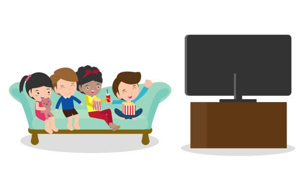 ilustrações de stock, clip art, desenhos animados e ícones de illustration of  kid watching tv, little boy and girl watches television - tv e familia e ecrã