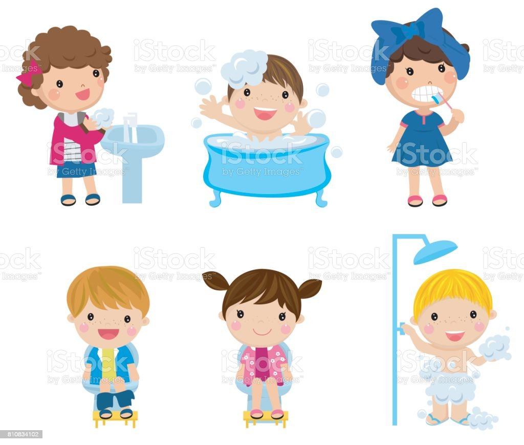 illustration of kids and bathroom accessories on a white
