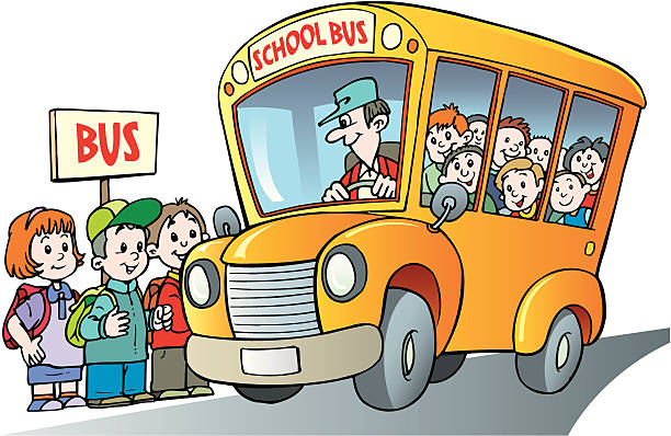 Illustration of kids and school bus at bus stop vector art illustration