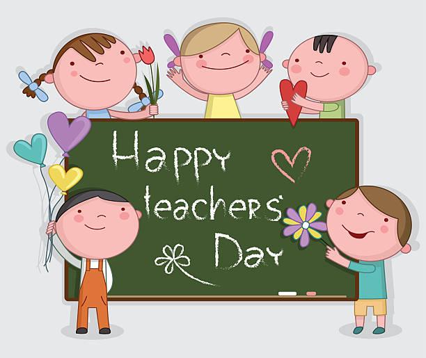 illustration of kids celebrating teachers' day - thank you teacher stock illustrations, clip art, cartoons, & icons