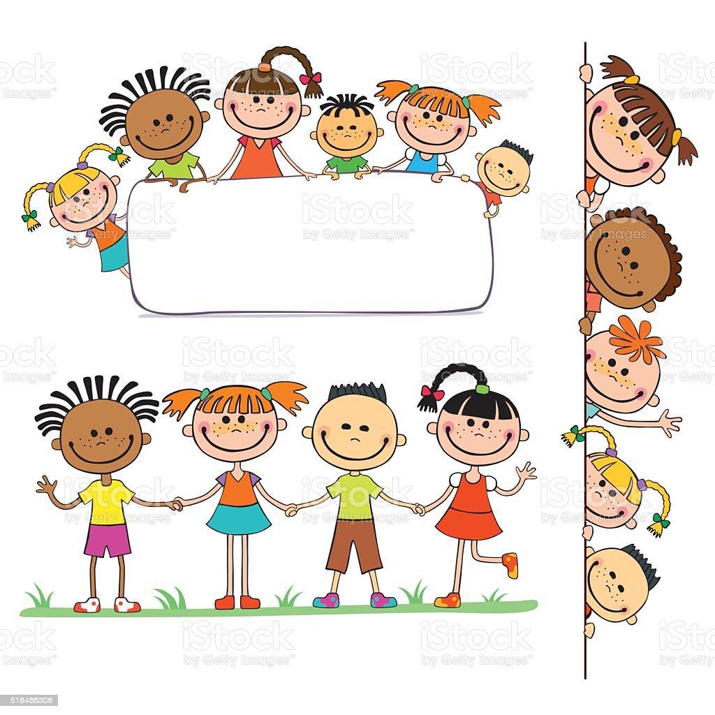 illustration of kids peeping behind placard vector art illustration
