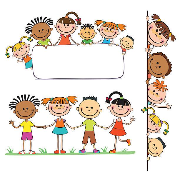 abbildung eines kinder gucken hinter plakat - kindersprüche stock-grafiken, -clipart, -cartoons und -symbole