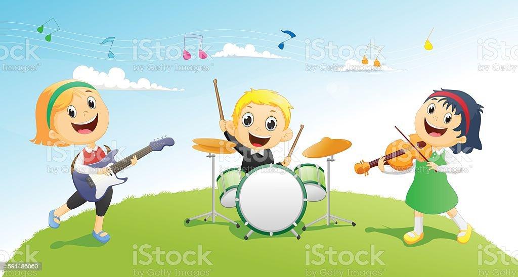 Illustration of kids playing music instrument vector art illustration
