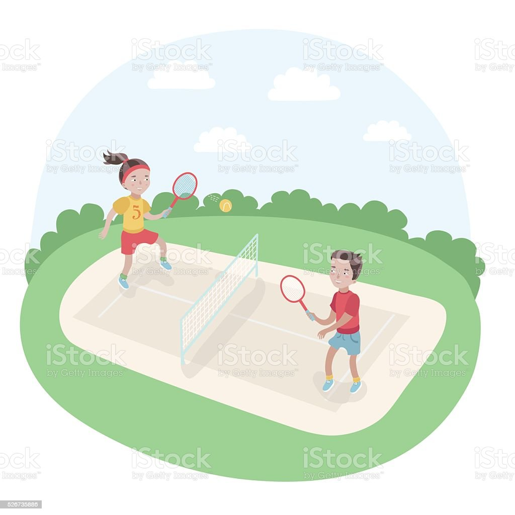 Illustration of kids playing tennis in the park vector art illustration