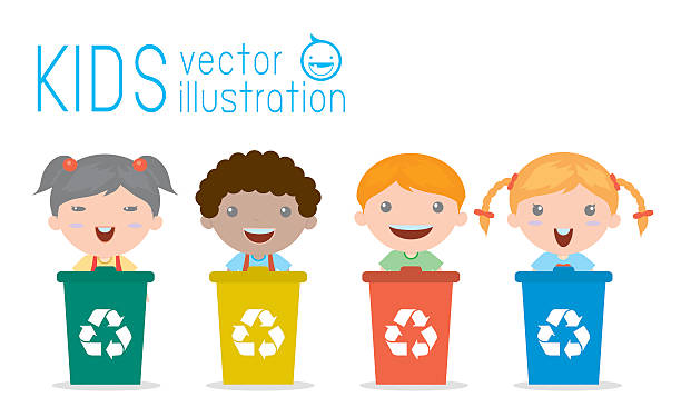 illustration of kids segregating trash, recycling trash, save the world - child throwing garbage stock illustrations, clip art, cartoons, & icons