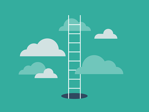 Illustration of ladder emerging from hole and leading into the clouds
