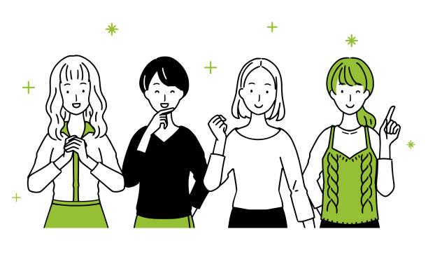 ilustrações de stock, clip art, desenhos animados e ícones de illustration of ladies lining up. - da cintura para cima