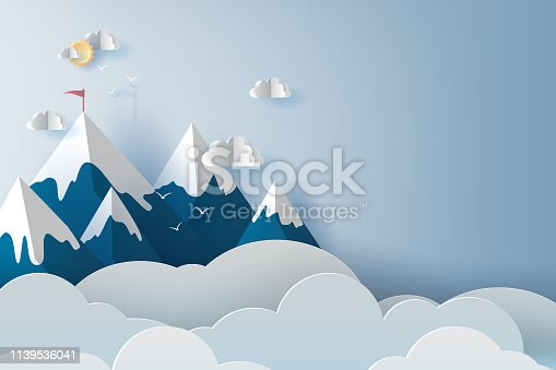 istock illustration of Landscape and cloud mountains and birds on blue sky. Creative design Paper cut and craft style of business teamwork targeted mountain concept idea. scene your text space pastel. vector 1139536041