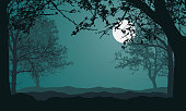 Illustration of landscape with forest, trees and hills, under night green sky with full moon and space for text - vector