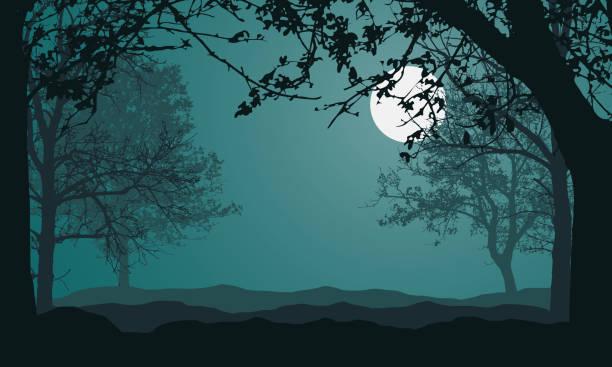森、木、丘のある風景のイラスト、満月とテキストベクトルのためのスペースと夜の緑の空の下 - 恐怖点のイラスト素材/クリップアート素材/マンガ素材/アイコン素材