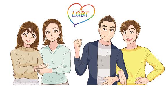 Illustration of LGBT.Gay, lesbian.