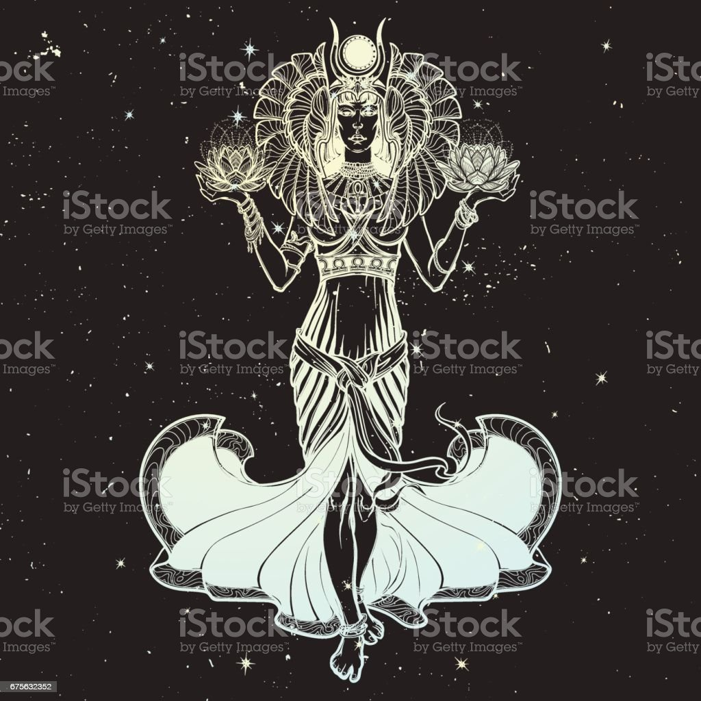 Illustration of libra zodiac sign as a beautiful Egyptian Goddess. Vector . vector art illustration