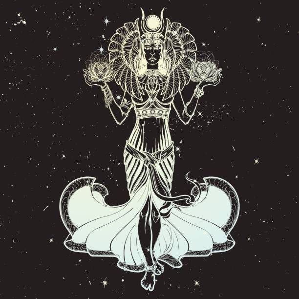 Illustration of libra zodiac sign as a beautiful Egyptian Goddess. Vector . vector art illustration