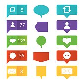 illustration of like, followers, comment icon set for social media