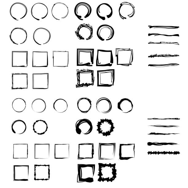 Illustration of lines, circles and rectangles drawn with a brush. vector art illustration