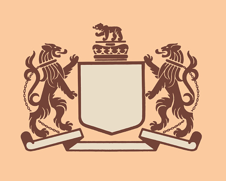 Illustration of lion crest