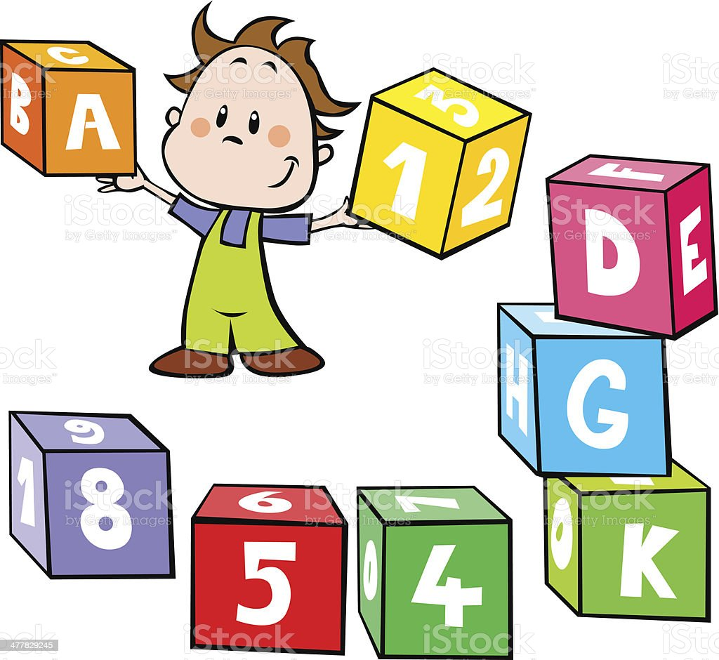illustration of little boy hold colorful cubes with letter vector art illustration