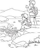 Illustration of Little Kids on a Hiking Trip