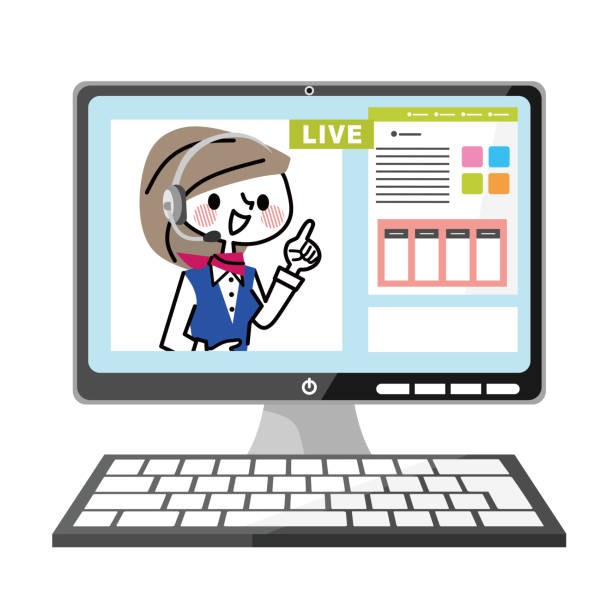 ライブ チャットのイラスト。 - オペレーター 日本人点のイラスト素材/クリップアート素材/マンガ素材/アイコン素材