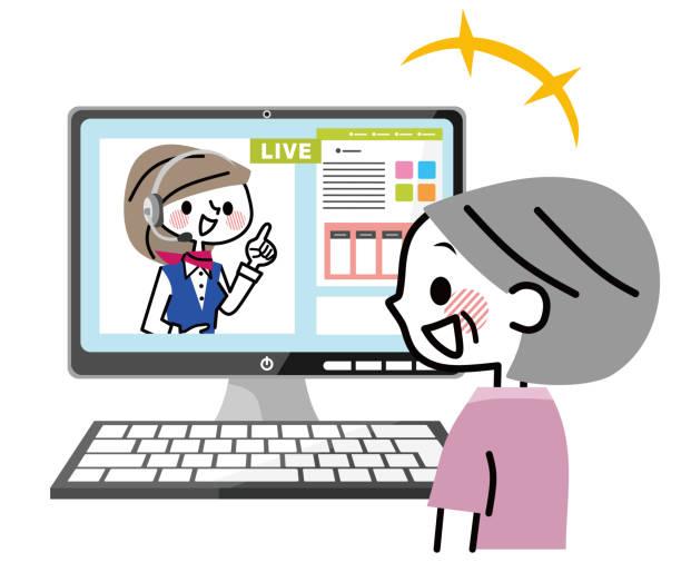 ライブ チャットのイラスト。 - テレビ会議 日本人点のイラスト素材/クリップアート素材/マンガ素材/アイコン素材