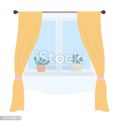 istock Illustration of living room window with yellow curtains and potted plants on the windowsill 1312764513
