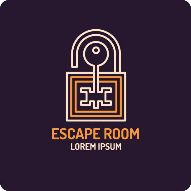 Illustration of lock and key. Real-life room escape and quest game icon Illustration of lock and key. Real-life room escape and quest game emblem. escaping stock illustrations