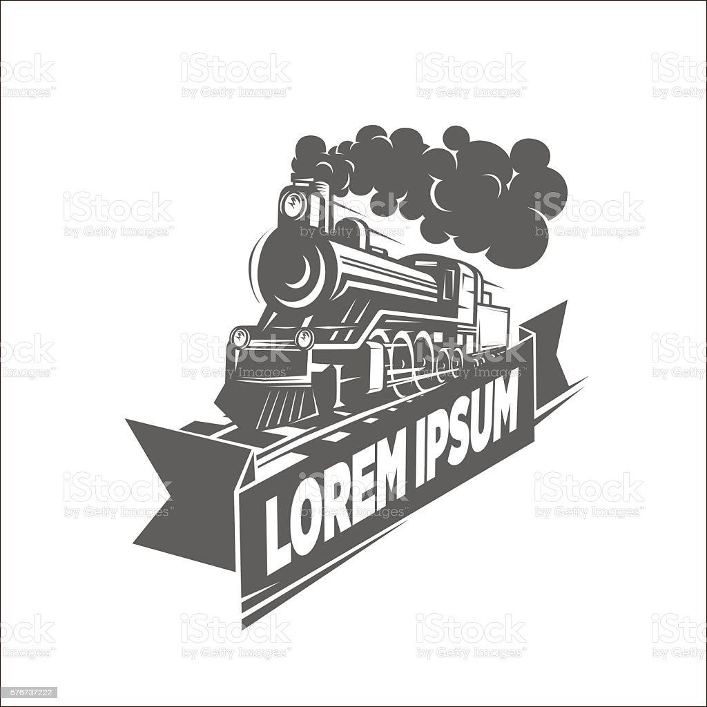 Illustration of locomotive, logotype. vector art illustration