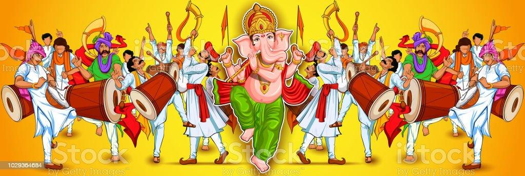 Illustration Of Lord Ganpati Background For Ganesh Chaturthi