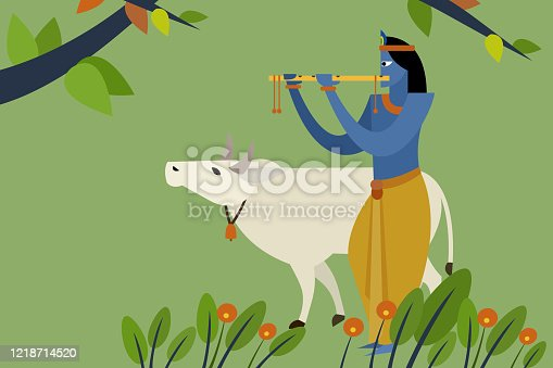 Illustration of Lord Krishna playing flute with holy cow