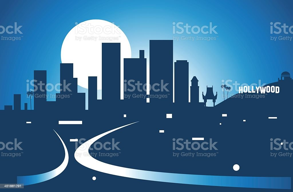 Illustration of Los Angeles skyline at night vector art illustration