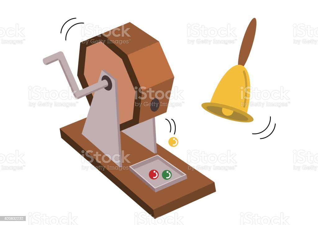 Illustration of lottery and bell vector art illustration