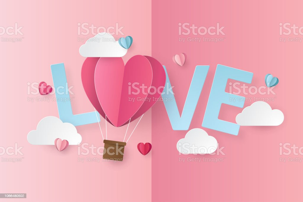 illustration of love and valentine day with balloon heart, clouds,...