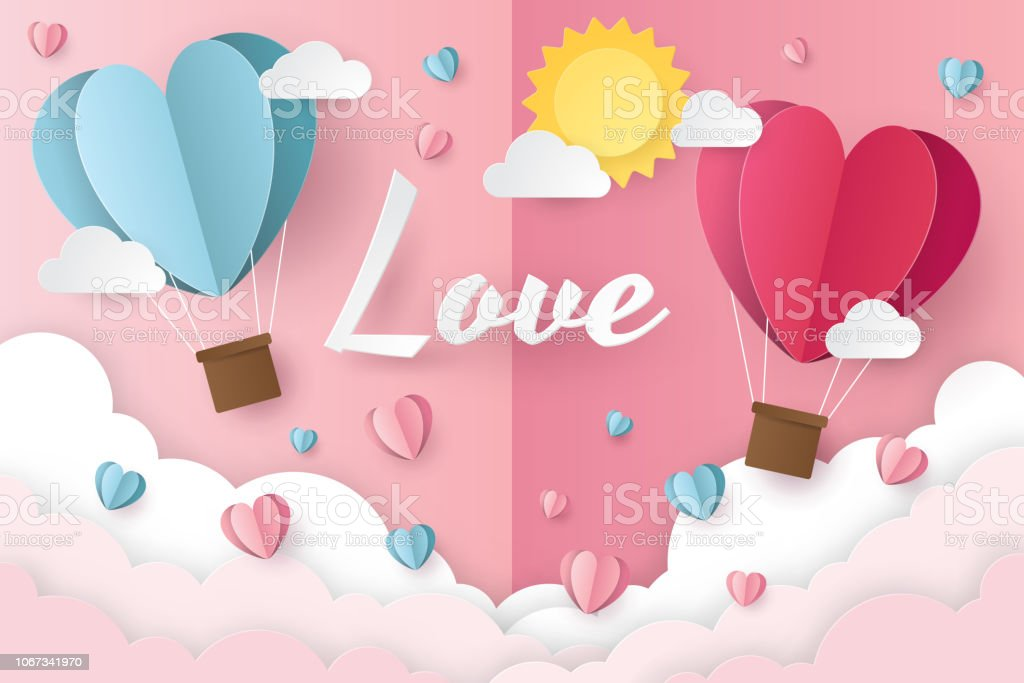 illustration of love and valentine day with balloon heart, clouds and...